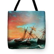 Ships In A Storm At Sunset Tote Bag