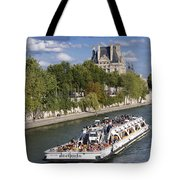 Sightseeing Boat On River Seine To Louvre Museum. Paris Tote Bag