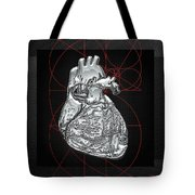 Silver Human Heart On Black Canvas Tote Bag by Serge Averbukh