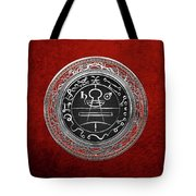 Silver Seal Of Solomon - Lesser Key Of Solomon On Red Velvet  Tote Bag
