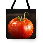 Single Fresh Tomato With Dew Drops Tote Bag