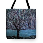 Single Tree On The Grand River Tote Bag