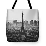 Skyline Of Paris In Black And White Tote Bag