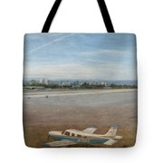 Small City Airport Plane Taking Off Tote Bag