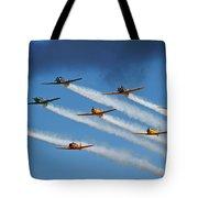 Snj  T-6 Texan And Canadian Harvard Aerobatic Team Tote Bag
