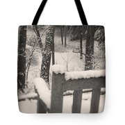 Snow Covered Benches Tote Bag