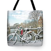 snowy Amsterdam in the Netherlands Tote Bag