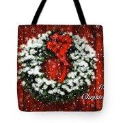 Snowy Christmas Wreath Card Tote Bag