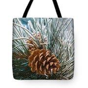 Snowy Pine Cones Tote Bag