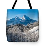 Snowy Church In The Bavarian Alps In Winter Tote Bag