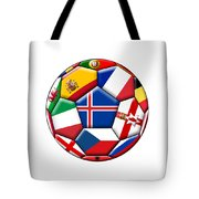 Soccer Ball With Flag Of Iceland In The Center Tote Bag