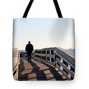 Solitary Man Walks Tote Bag