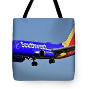 Southwest Airlines Airplane In Flight Tote Bag