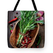 Spices On A Wooden Board Tote Bag