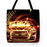 Sports Car In Flames Tote Bag