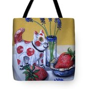 Spotted Cat With Strawberries Tote Bag
