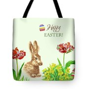 Spring Rabbit And Flowers Tote Bag