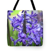 Spring Time With Blooming Hyacinth Flowers In A Garden Tote Bag