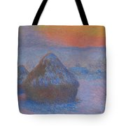 Stacks Of Wheat, Sunset, Snow Effect Tote Bag