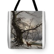 Stag In A Snow Covered Wooded Landscape Tote Bag