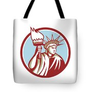 Statue Of Liberty Holding Flaming Torch Circle Retro Tote Bag