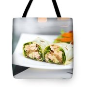 Steamed Salmon And Salad Wrap Tote Bag