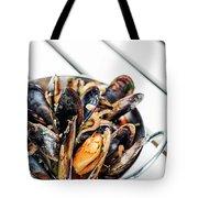 Stewed Fresh Mussels In Spicy Garlic Wine Seafood Sauce Tote Bag