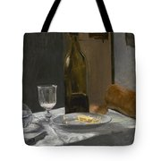 Still Life With Bottle Carafe Bread And Wine Tote Bag