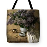 Still Life With Bouquet Of Fresh Lilacs Tote Bag