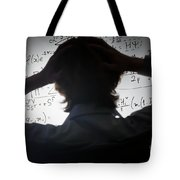 Student Holding His Head Looking At Complex Math Formulas On Whiteboard Tote Bag