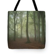 Stunning Colorful Moody Vibrant Autumn Fall Foggy Forest Landsca Tote Bag