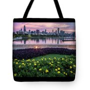 summer flowers and Chicago skyline Tote Bag