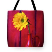 Sunflower In Red Pitcher Tote Bag