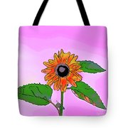 Illustration Of A Sunflower On A Pink Background Tote Bag