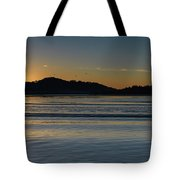 Sunrise Waterscape And Silhouettes Tote Bag