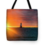Sunset And Lighthouse Tote Bag