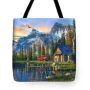 Sunset At Log Cabin Tote Bag