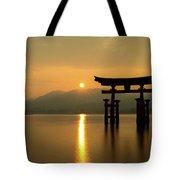 Sunset At Miyajima's Torii Tote Bag