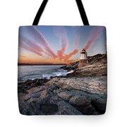 Sunset, Castle Hill Lighthouse  Tote Bag