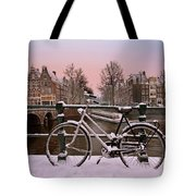 Sunset In Snowy Amsterdam In The Netherlands In Winter Tote Bag