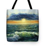 Sunset Over Ocean Tote Bag