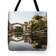 Sunset Over The Famous Mostar Bridge Tote Bag