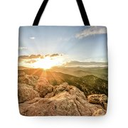Sunset Over The Mountains Of Flaggstaff Road In Boulder, Colorad Tote Bag