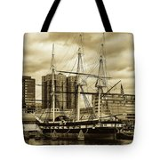 Tall Ship In Baltimore Harbor Tote Bag