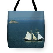 Tall Ship Passing Thatcher's Rock, Torbay Tote Bag