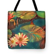 Teal Waterlilies 8 Tote Bag