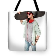 Teen Boy With Skateboard Tote Bag
