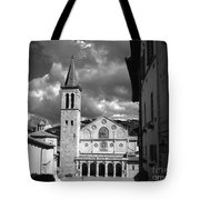 The Facade Of The Duomo With Mosaic And Eight Rose Windows And The Campanile Spoleto Umbria Italy Tote Bag