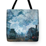 The Gare Saint-lazare Arrival Of A Train Tote Bag
