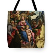 The Madonna And Child With Angels Saints And A Donor Tote Bag